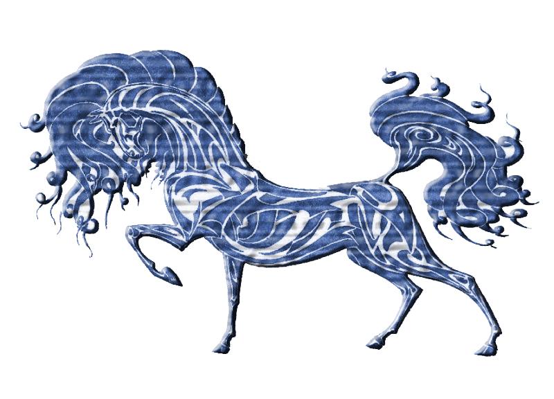 Синяя деревянная лошадь