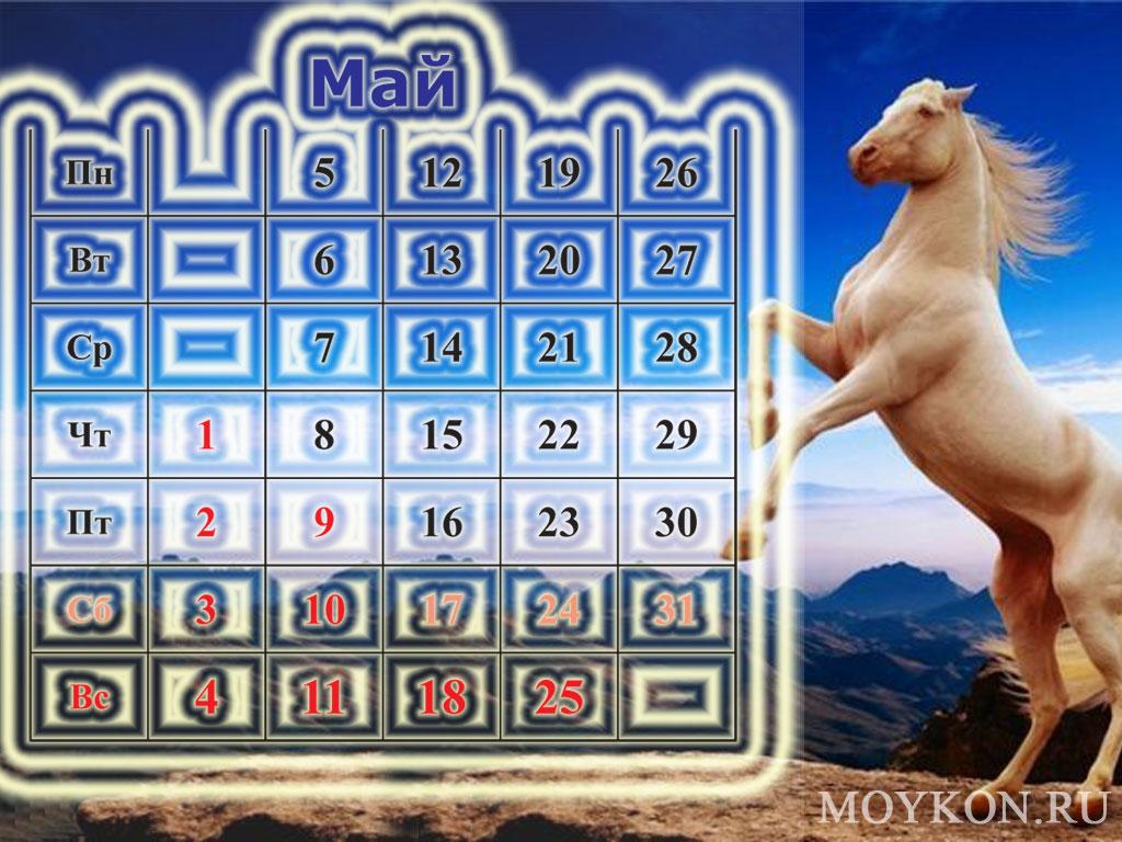 Календари с лошадьми на май 2014