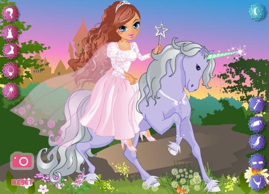 Принцесса на единороге. Онлайн игра с лошадьми.