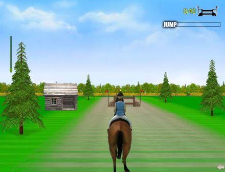 Соревнование по конкуру. Флэш игра с лошадью.
